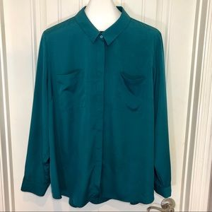 Lane Bryant Emerald Button Up Long Sleeve Blouse